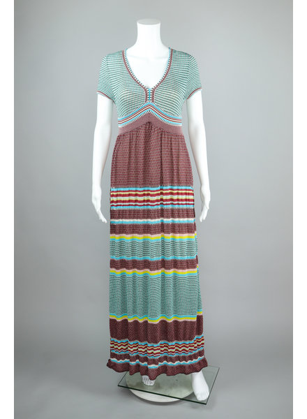 Aldo Martin Mint and Wine Aspen Stripe Knit Maxi Dress