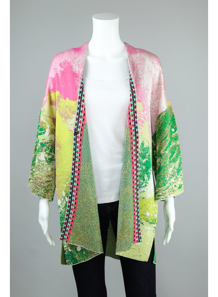 Aldo Martin Pink and Green Dori Cardi Sweater