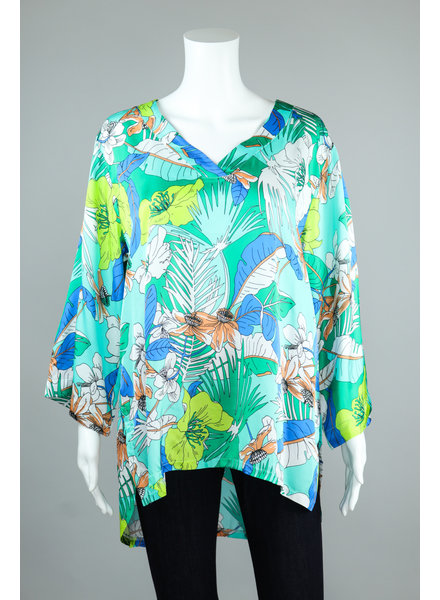 Aldo Martin Green Niger Feather Print HiLo Blouse