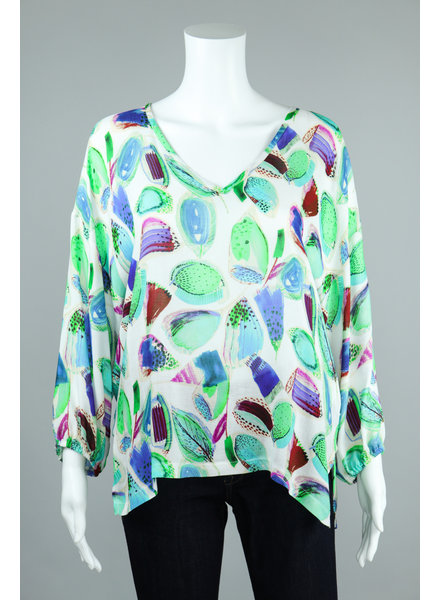 Aldo Martin Green Mosa Feather Print Blouse