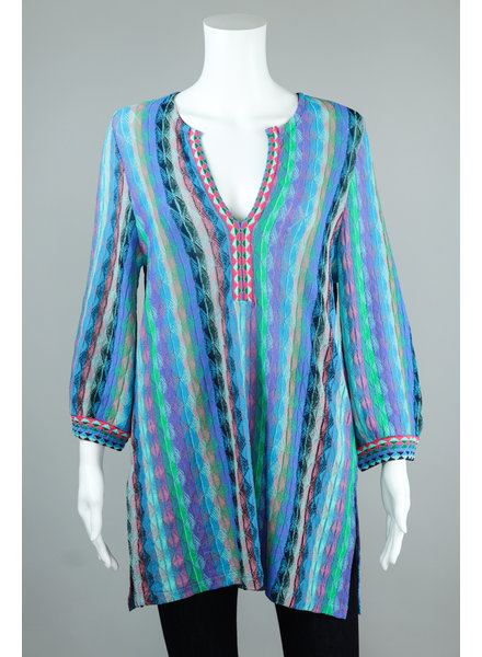 Aldo Martin Blue Benin Vertical Stripe Tunic Sweater