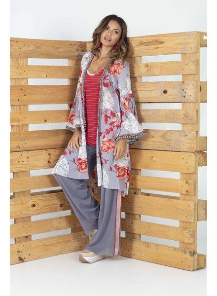 Petit Pois Valentines Print Pom Pom Kimono