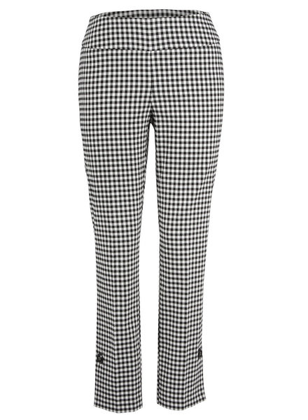 Up! Pants Black & White Gingham Side Vent Button Pant