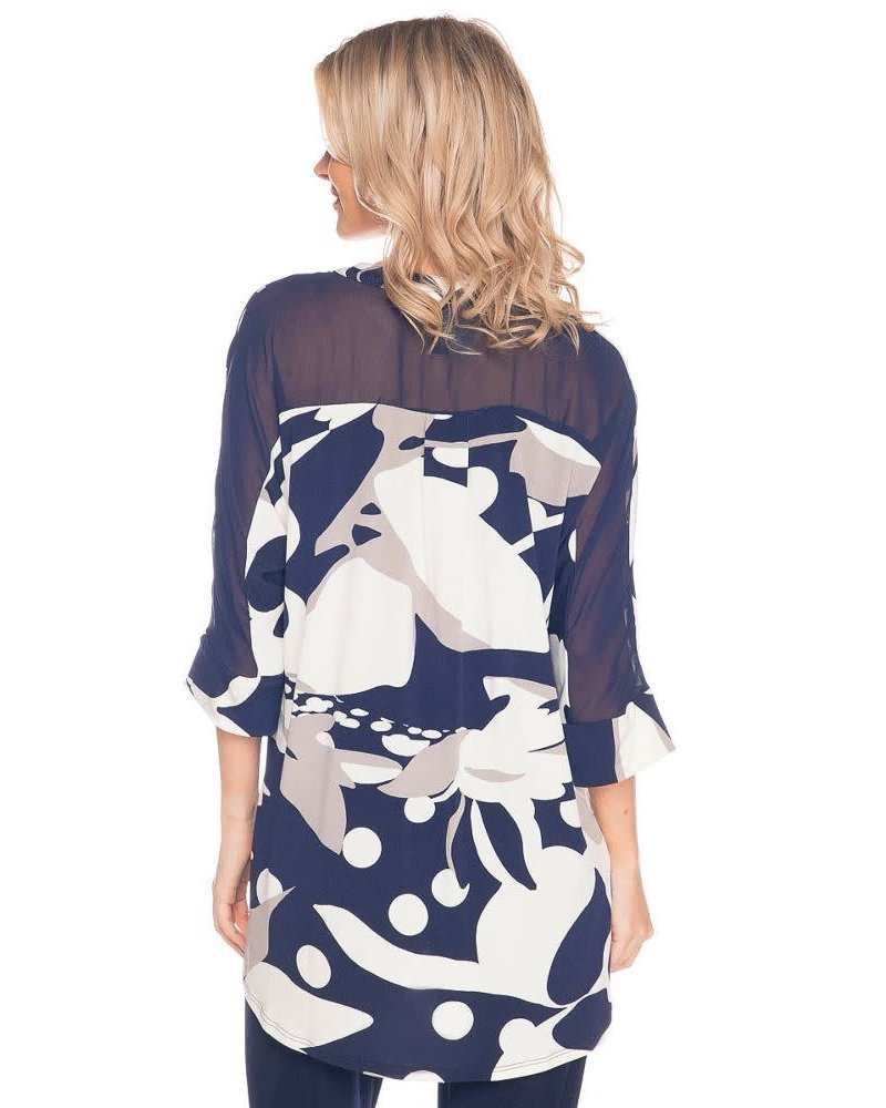 Last Tango Printed Dolman Sleeve W/ Back Chiffon Yoke