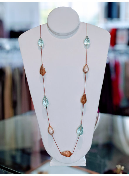 Silk Multi Stones & Pave Necklace