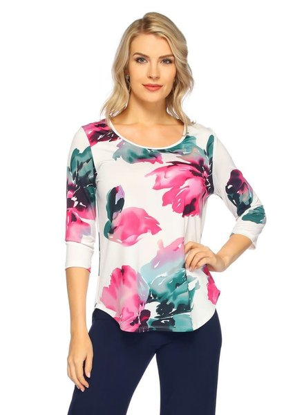 Last Tango Berry Floral 3/4 Sleeve Keyhole Top