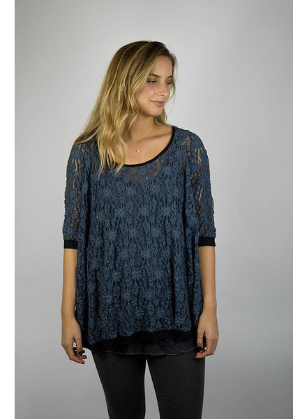 Surrealist New Blue Alexa Pucker Lace Top