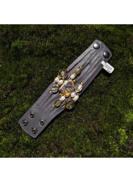Suzy T Matte Grey Wide Leather Gemstone Bracelet