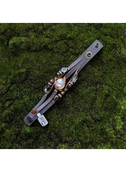 Suzy T Matte Grey Thin Leather Gemstone Bracelet