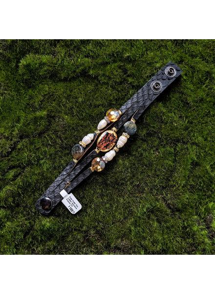 Suzy T Black Snake Thin Leather Gemstone Bracelet