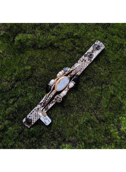 Suzy T Cream/Black Snake Thin Leather Gemstone Bracelet