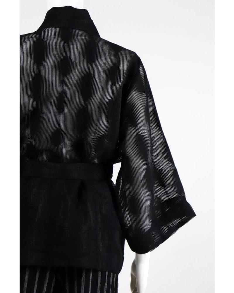 Alembika Sheer Dot 3/4 Sleeve Wrap Jacket