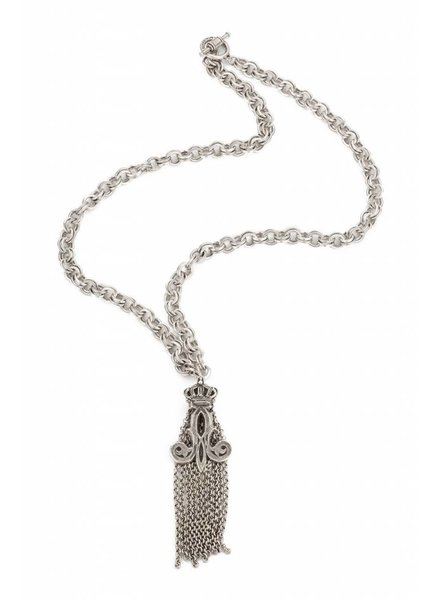 French Kande Stirling Clad Chain With Crown Tassel Necklace