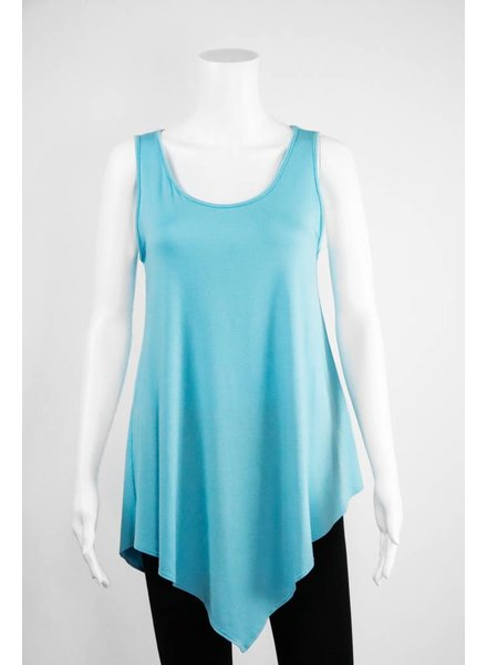 Comfy USA Sleeveless Uneven Hem Tee