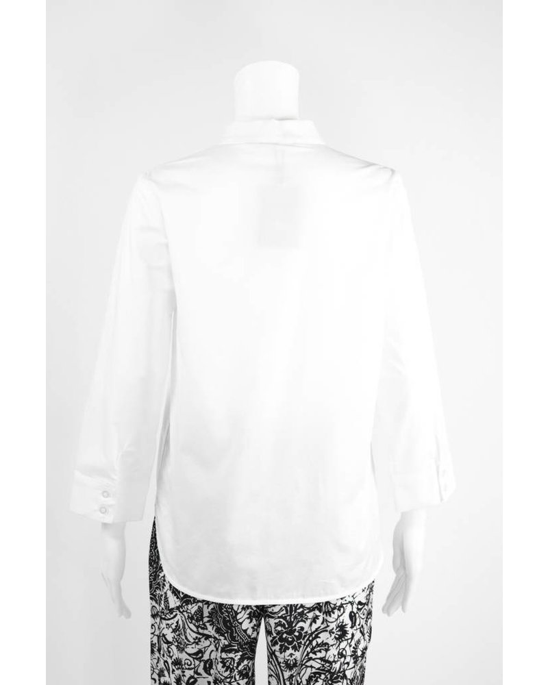 Lauren Vidal Cotton Zip Ruched Blouse
