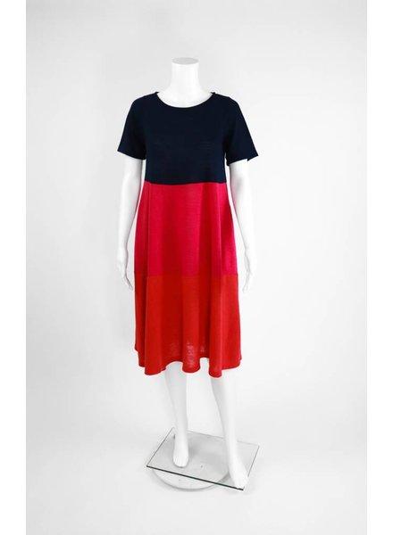Alembika Short Sleeve Tri-Color Short Dress