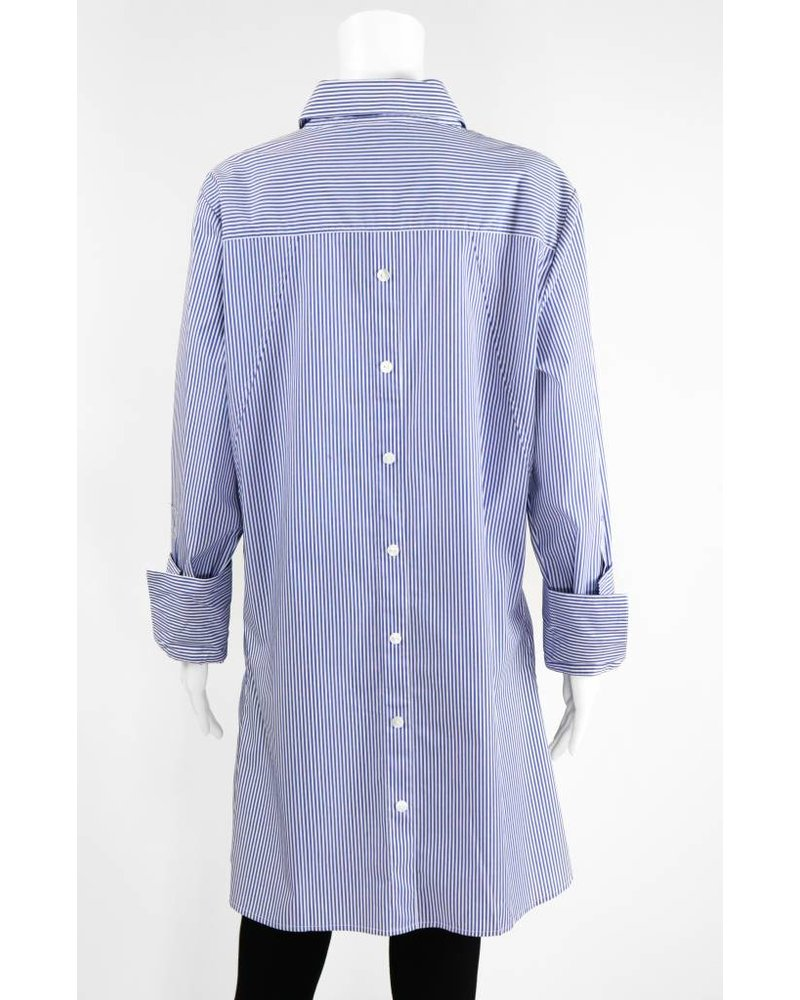 Inae Collection Pinstripe Shirt Dress With Pockets
