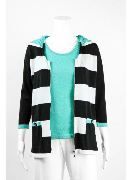 Angel Apparel Striped Hooded Cardigan