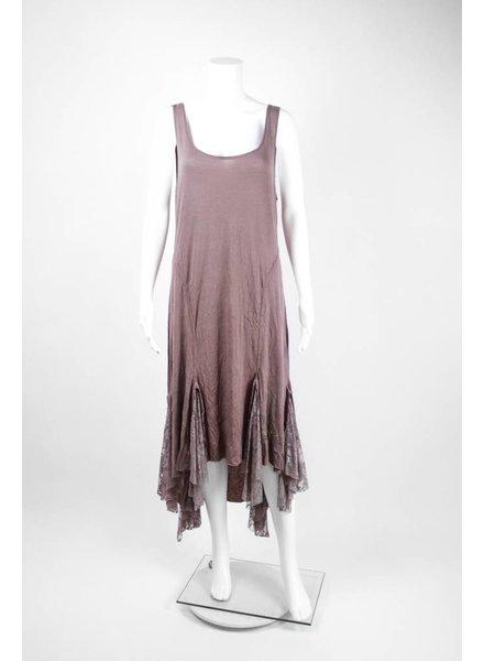 Surrealist Sleeveless Dress With Lace Bottom