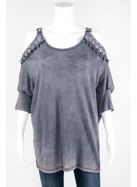 Tempo Cold Shoulder Crochet Knit Tee