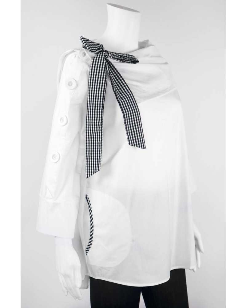 IC Collection Boatneck Collar With Gingham Bow Top