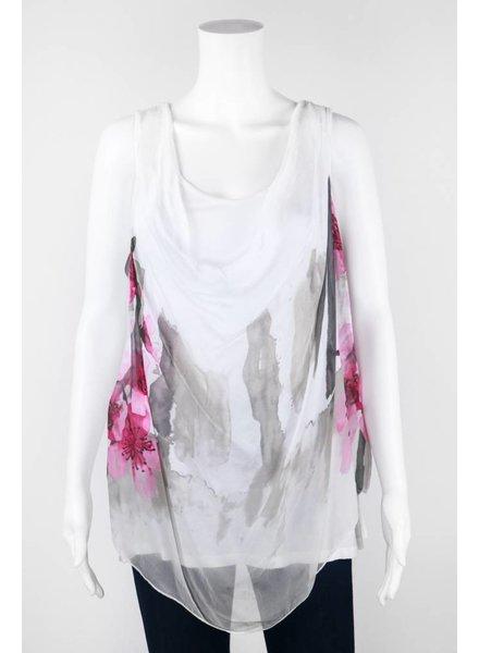 Angela Mara Sleeveless Watercolor Print Tank Top