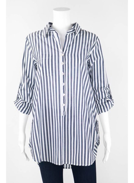 Inae Collection Tab Sleeve Hem Stripe Tunic