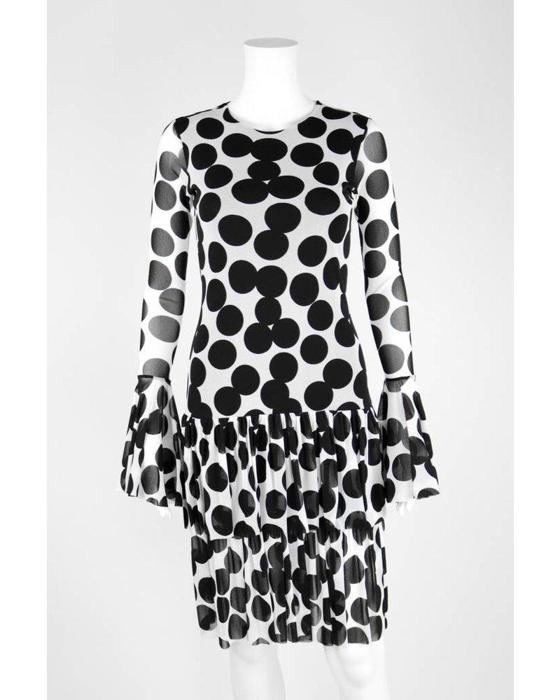 Petit Pois Dot Long Sleeve Flutter Hem Dress