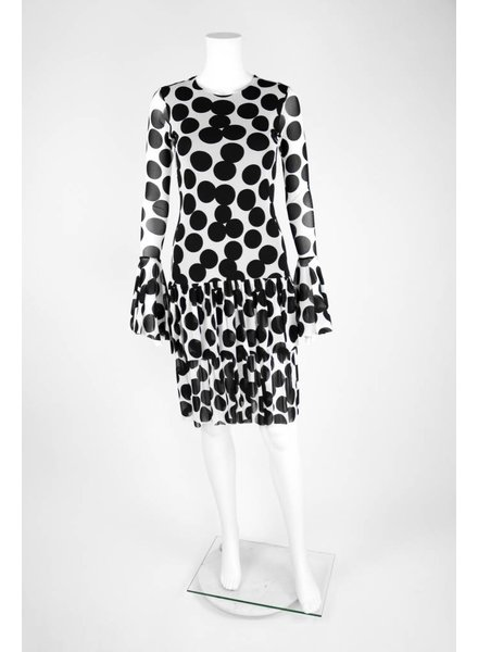 Petit Pois Dot Long Sleeve Flutter Hem Dress