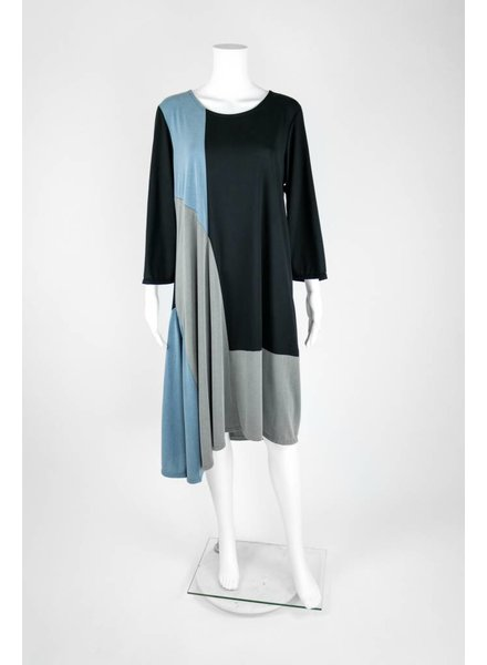 Et'Lois Long Sleeve Tri-Color Dress