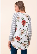 3/4 Stripe/Floral Print Top