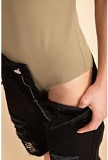 V Neck Short Slve Bodysuit