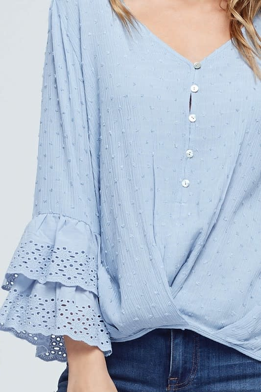 Swiss Polka Dot Ruffle Sleeve Top