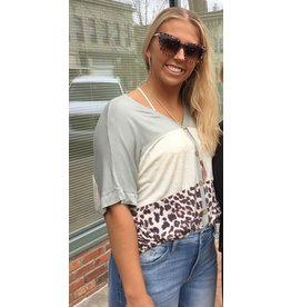 Animal Print Contrast Button Front Top