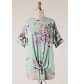 Ruffle Sleeve Floral Print Top