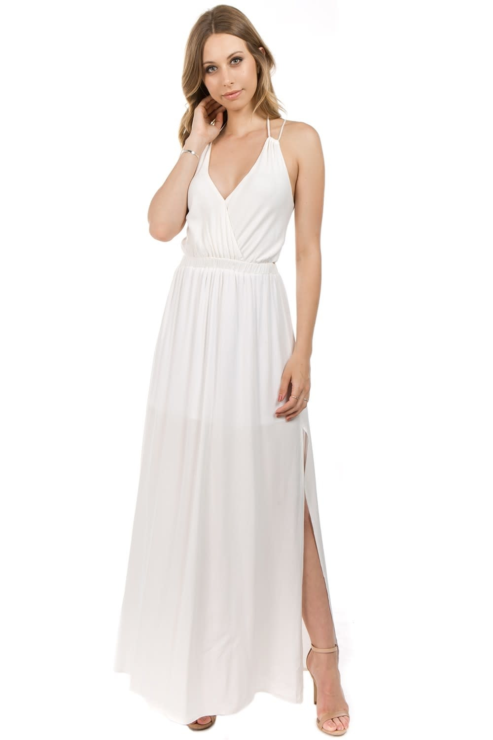 Crossed Back Woven Tank Maxi Dress