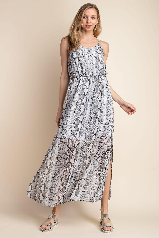 Snake Print Maxi Dress