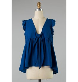 Tie Front Ruffle Slve Top