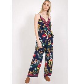 Floral Print V Neck Jumpsuit