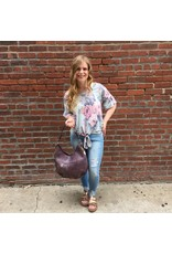 Floral Print Top W/ Flutter Sleeve Top