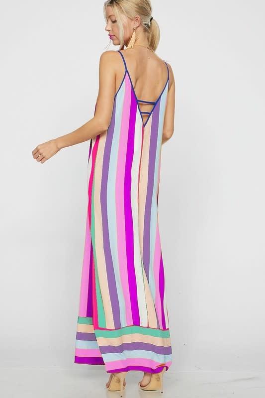 Rainbow Stripe Maxi Dress