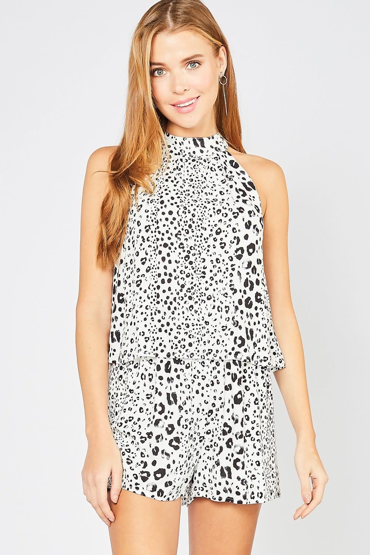 Cheetah Print High Neck Romper