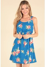 Crepe Floral Dress w/Strap Back