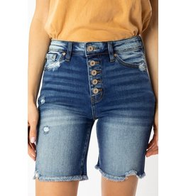 Button Fly Long Inseam Denim Shorts