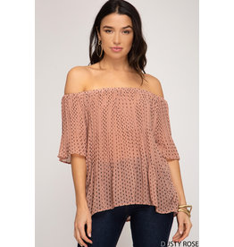 Pretty in Pleat Off The Shoulder Top