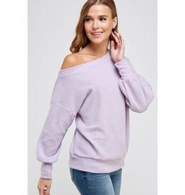 Rylee One Shoulder Waffle Knit Top