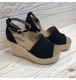Say No More - Black Espadrille Wedge
