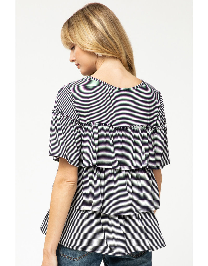The Hannah Striped Ruffle Top