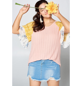 Curvy Collection - Faith Floral Sleeve Top