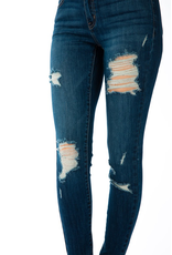 Paige Dark Wash Distressed Skinny